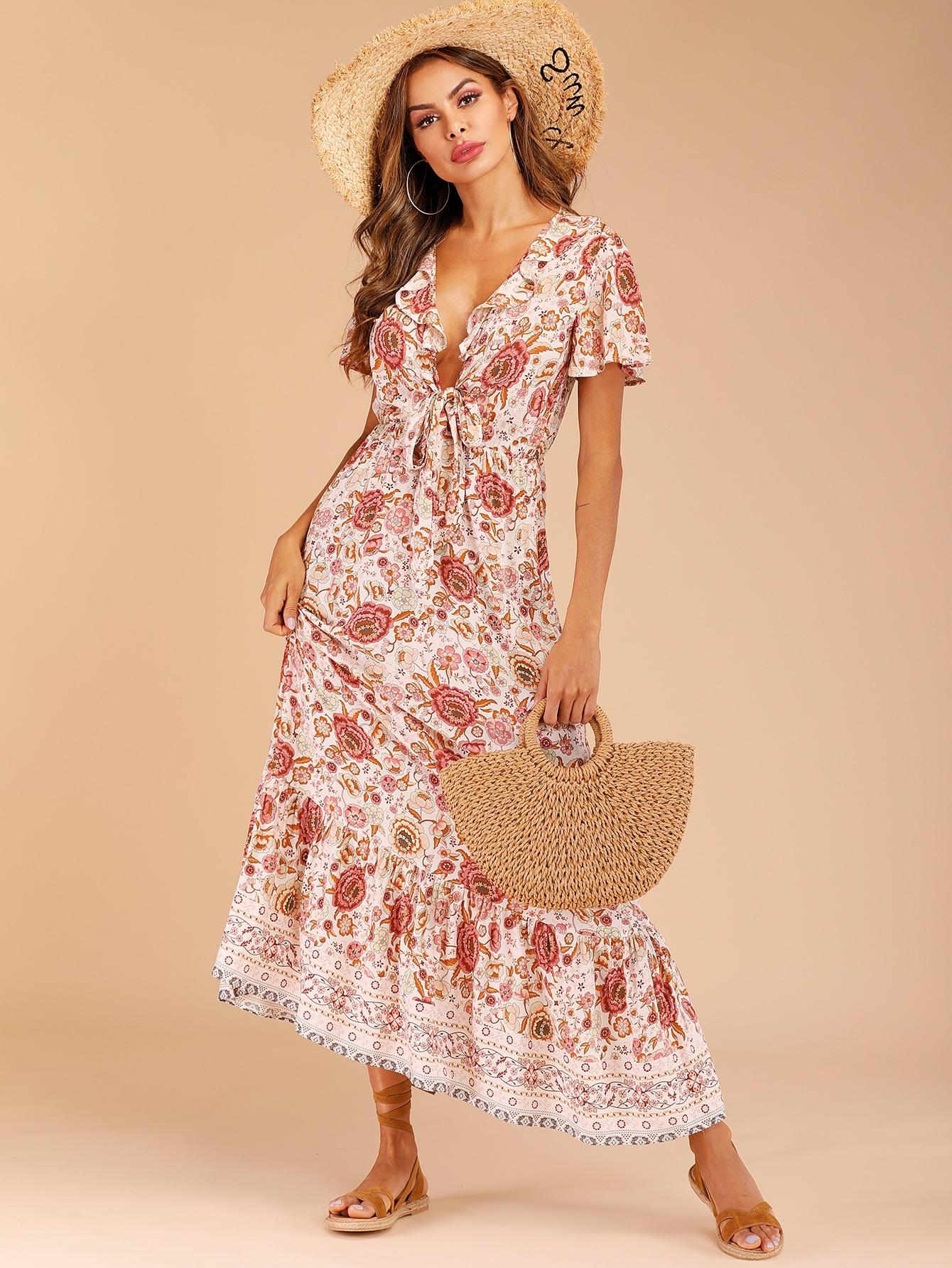 Фото - Цветочное платье с оборками и узлом от SheIn цвет многоцветный