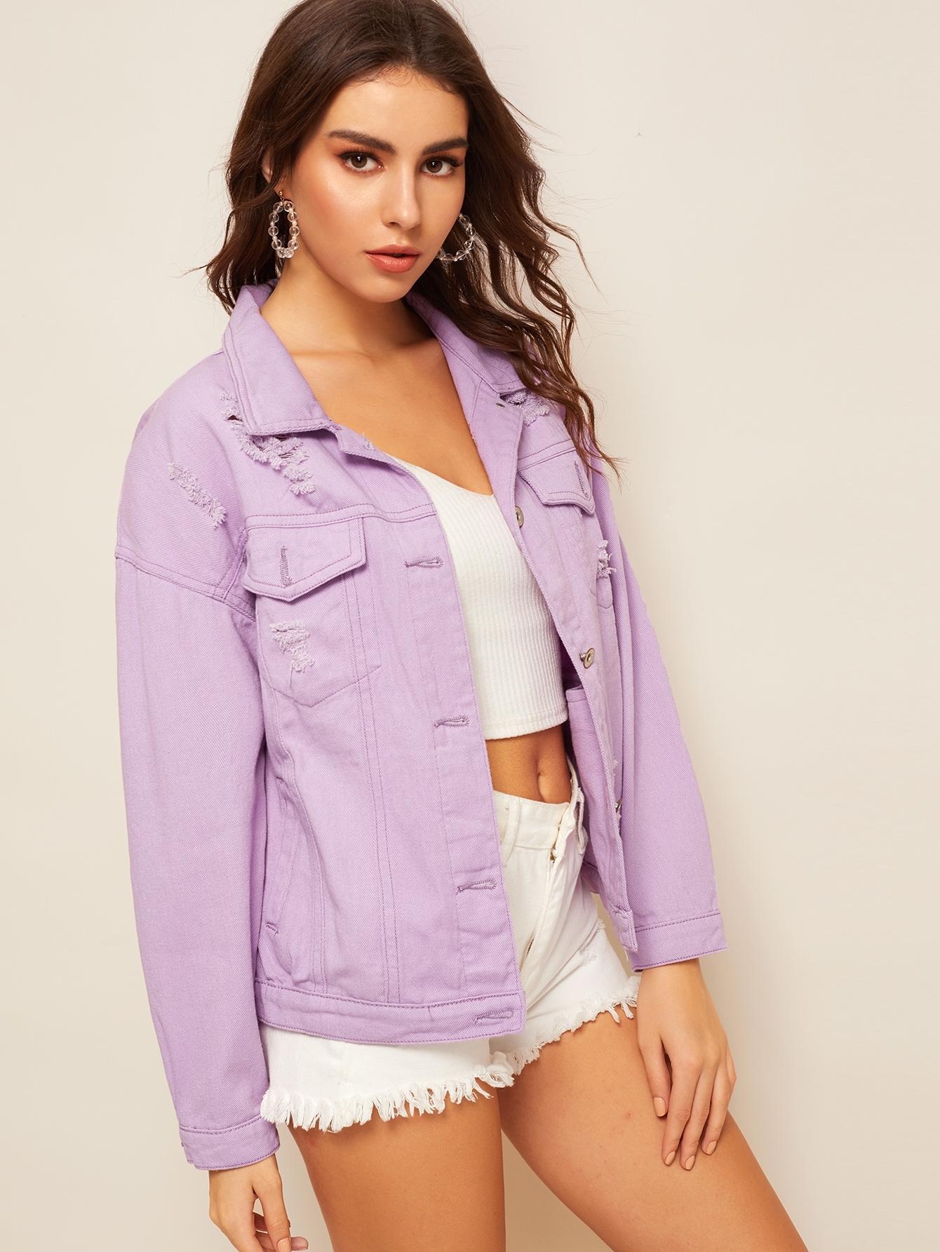 Фото - Рваная джинсовая куртка с пуговицами от SheIn фиолетового цвета
