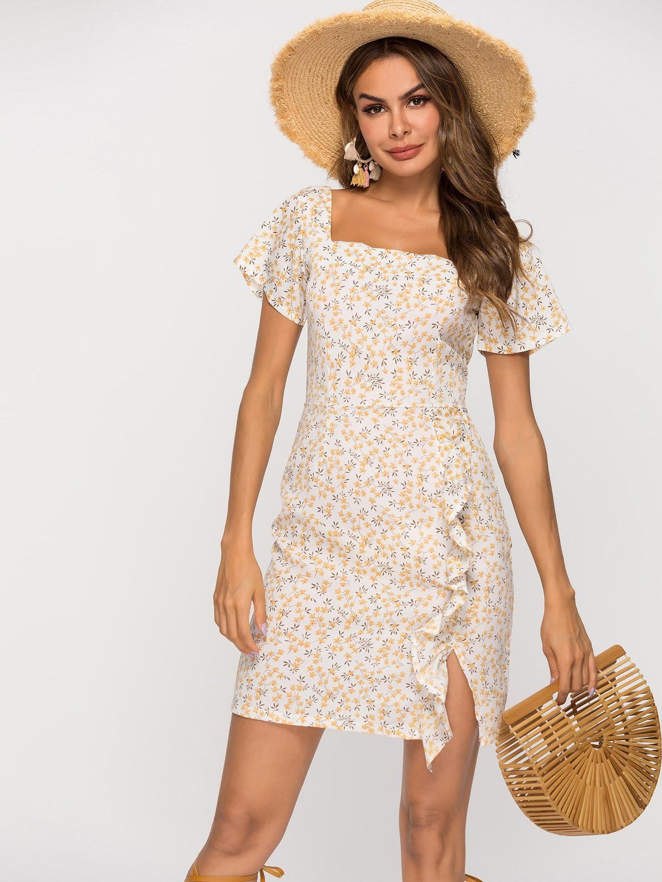 Фото - Цветочное платье с оборками от SheIn цвет многоцветный