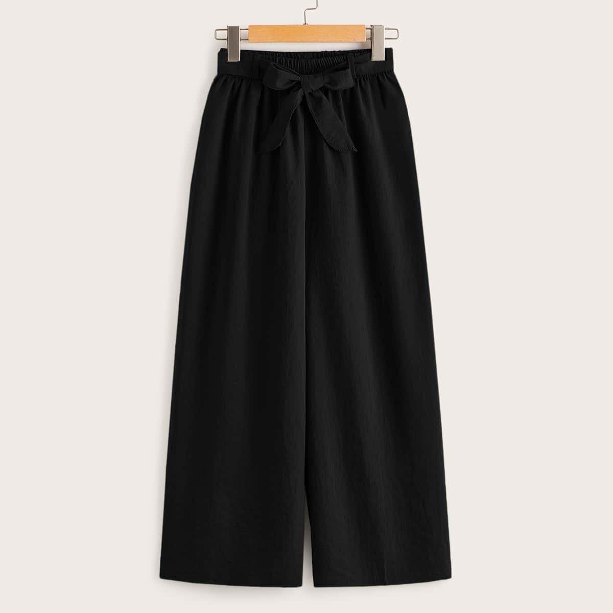 Wide Leg Waist Tie Pants