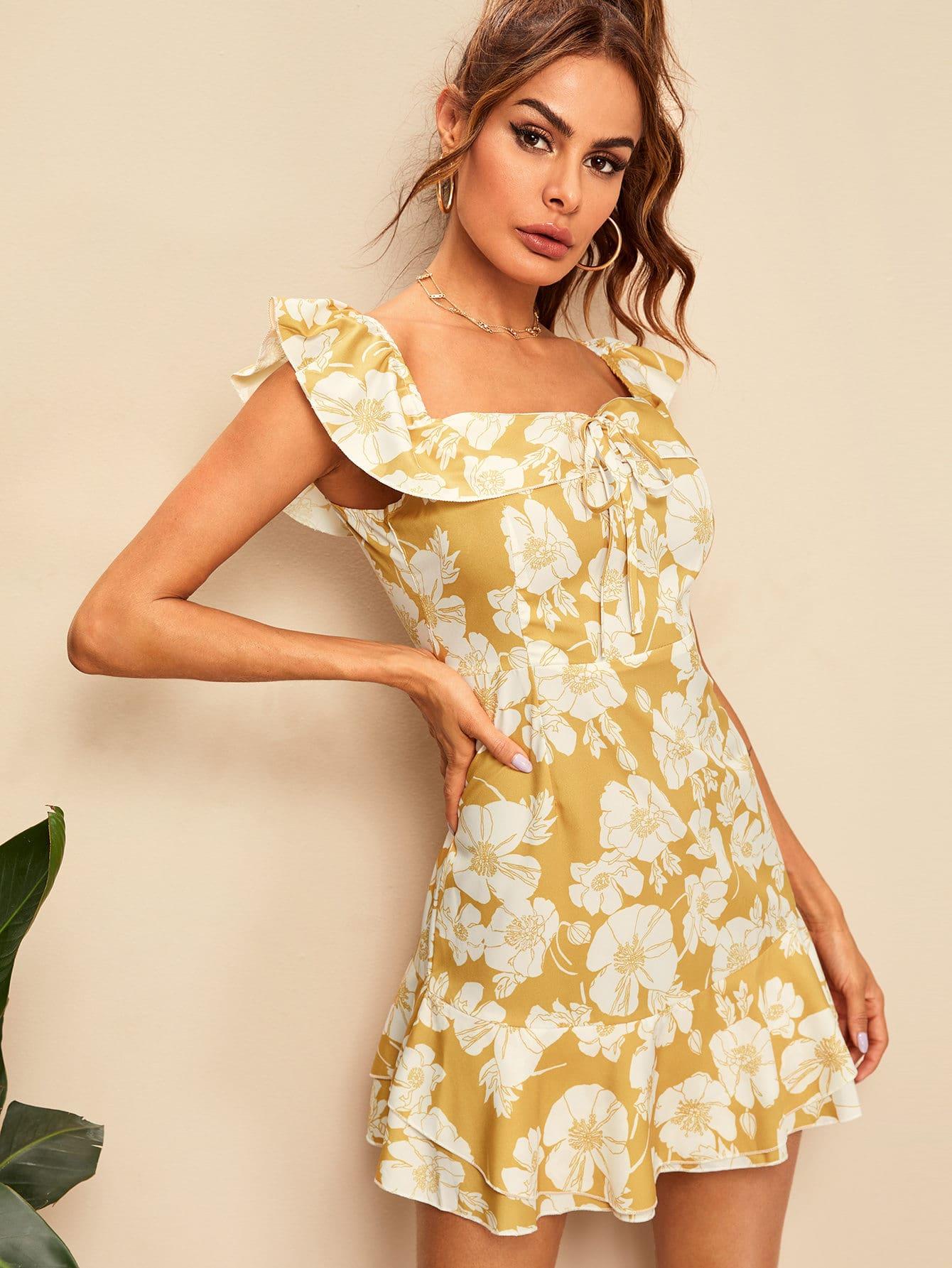 Фото - Платье с цветочным принтом и оборками от SheIn цвет жёлтые