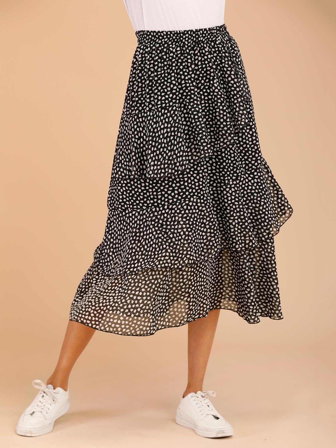 Фото - Многослойная юбка с пятнистым принтом от SheIn цвет чёрнобелые