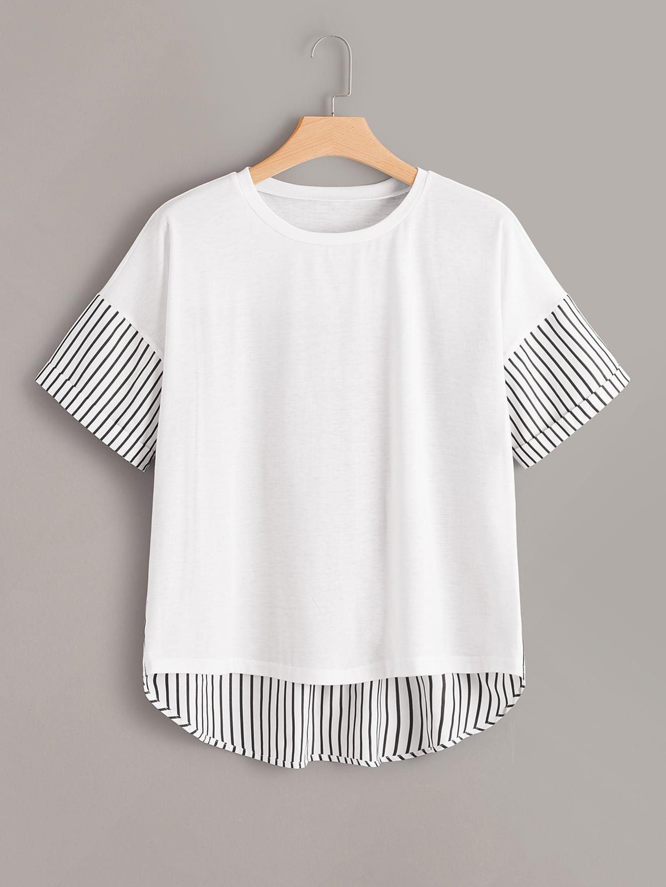 Фото - Асимметричная футболка с полосками размера плюс от SheIn цвет белые