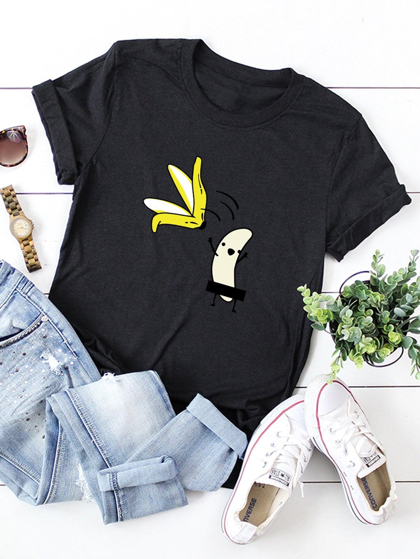 Фото - Футболку размера плюс с банановым принтом от SheIn цвет чёрные