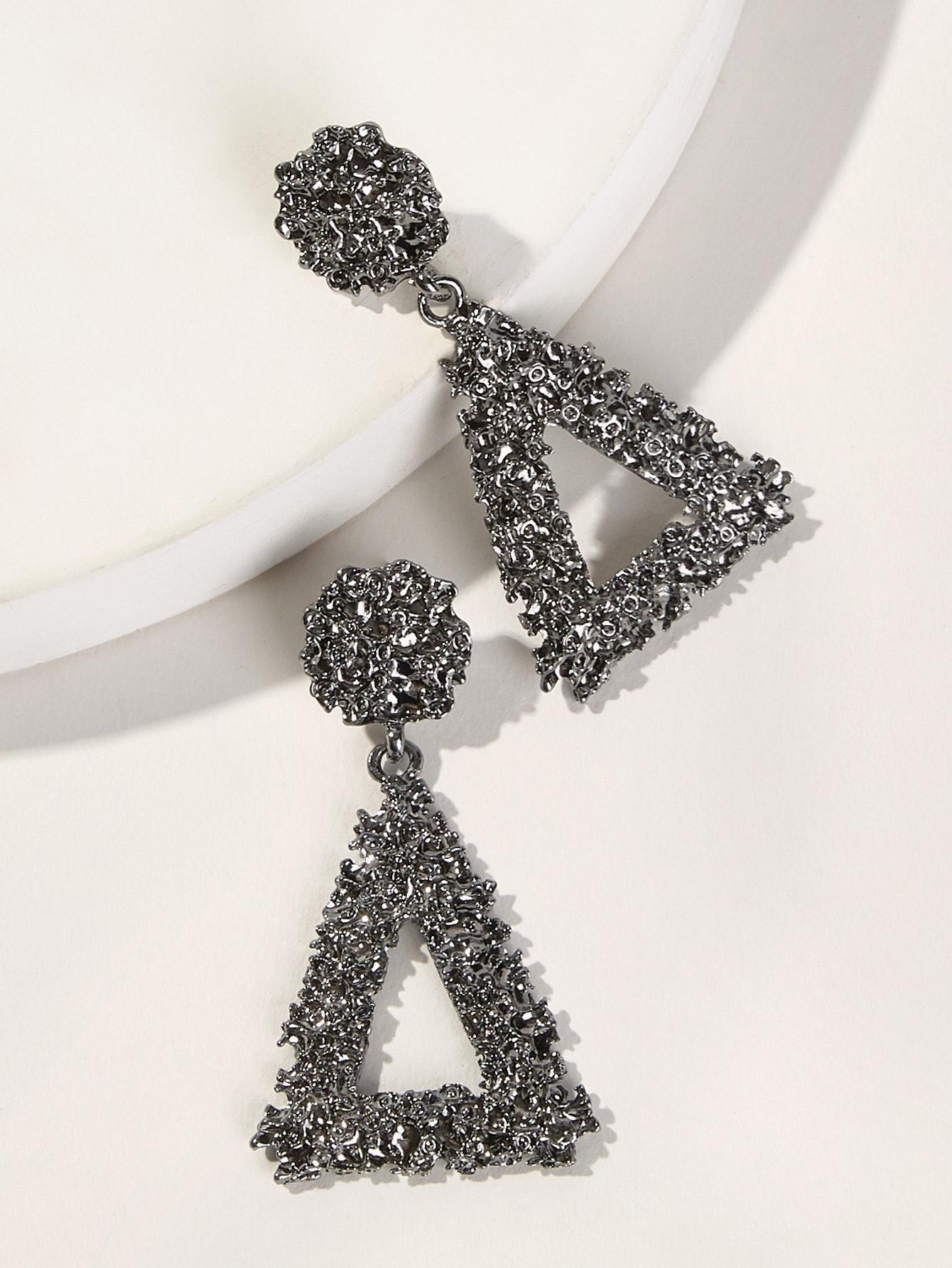 Фото - Текстурированные серьги-капли с треугольником 1 пара от SheIn цвет серебряные