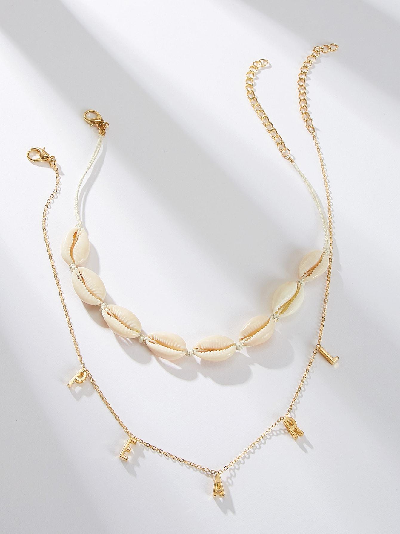 Фото - Ожерелье с буквой и раковиной 2шт. от SheIn цвет золотые