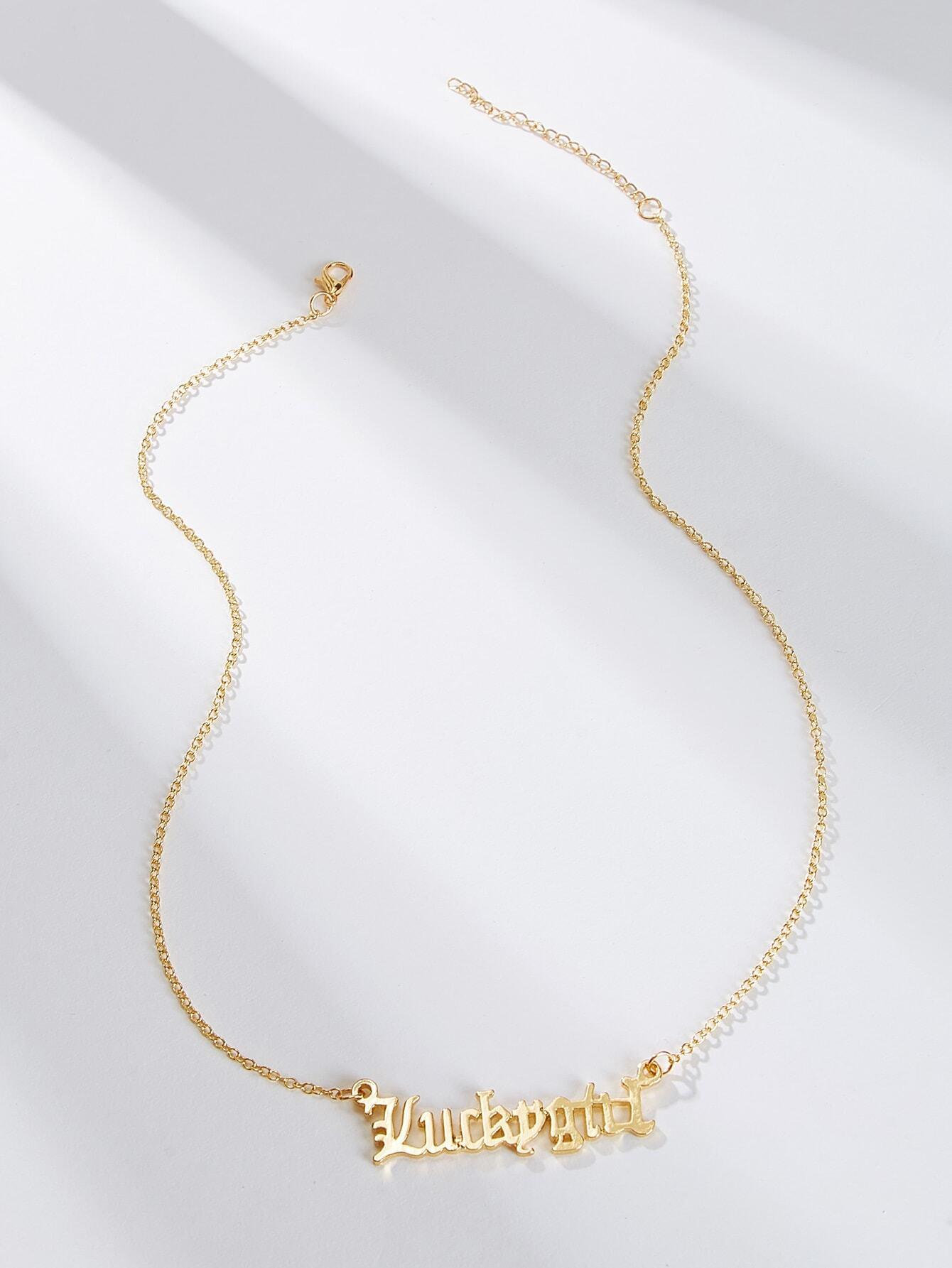 Фото - Ожерелье с подвеской в виде буквы 1шт. от SheIn цвет золотые