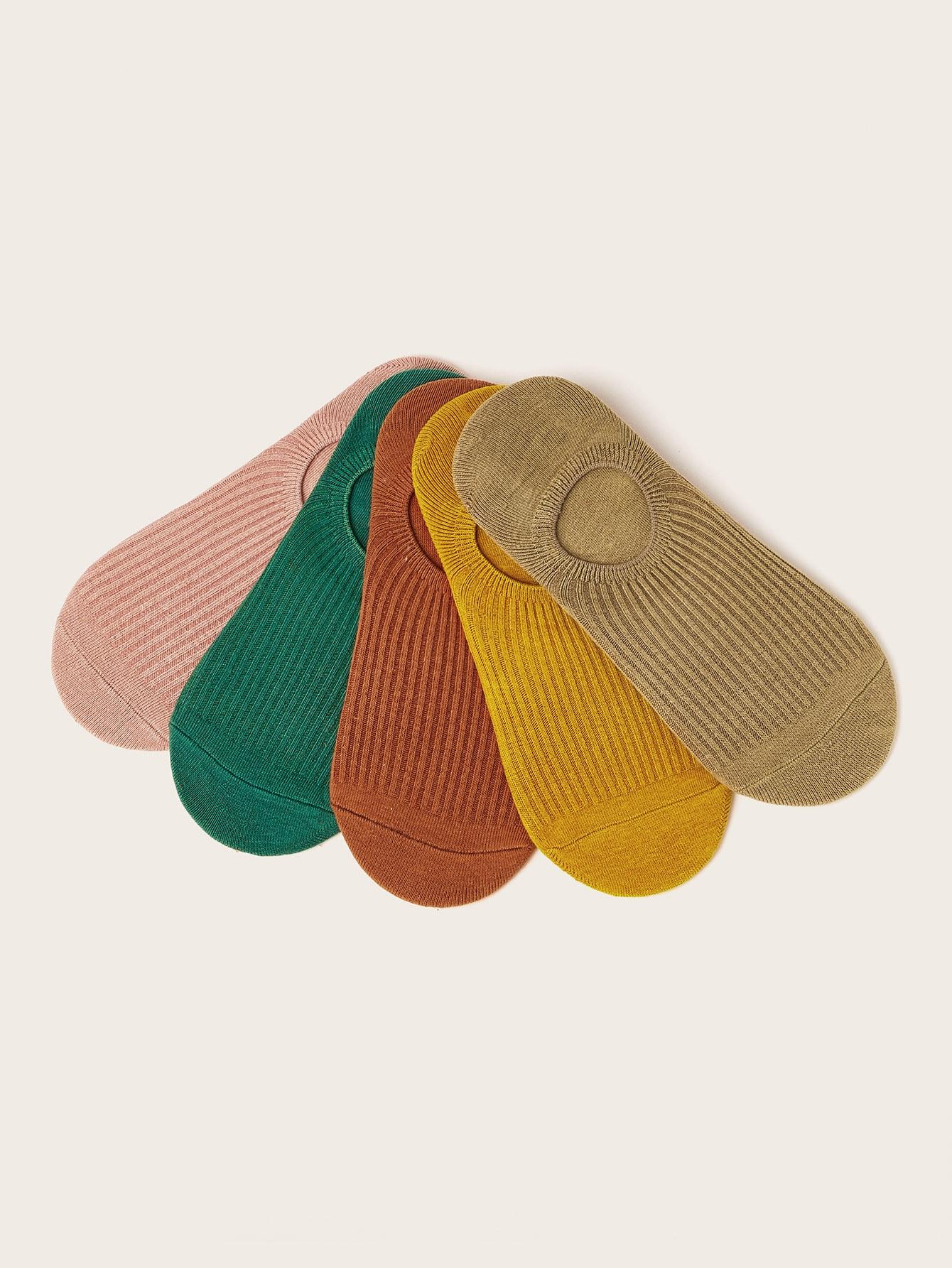 Фото - Невидимые носки ребристые 5 пар от SheIn цвет многоцветный