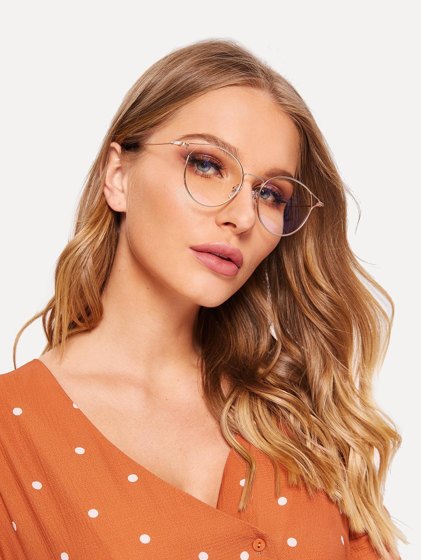 Фото - Нерегулярные очки с металлическим каркасом от SheIn цвет золотые
