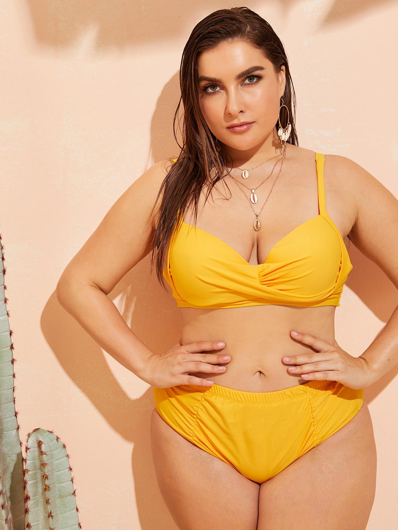 Фото - Бикини размера плюс со сборками и высокой талией от SheIn цвет жёлтые