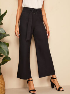 Buckle Belt Detail Wide Leg Pants