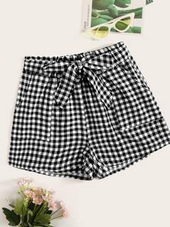 Patch Pocket Front Gingham Shorts With Belt