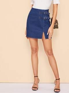 Buckle Strap Detail Split Denim Skirt