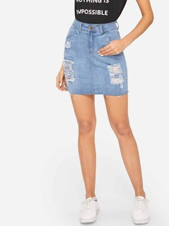 Faded Wash Ripped Denim Skirt