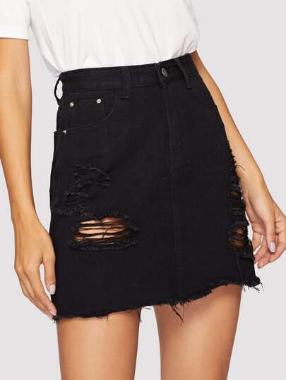 202563e657 Black Wash Distressed Denim Skirt, Juliana - shein.com - imall.com