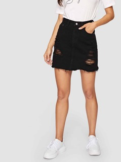 Black Wash Distressed Denim Skirt