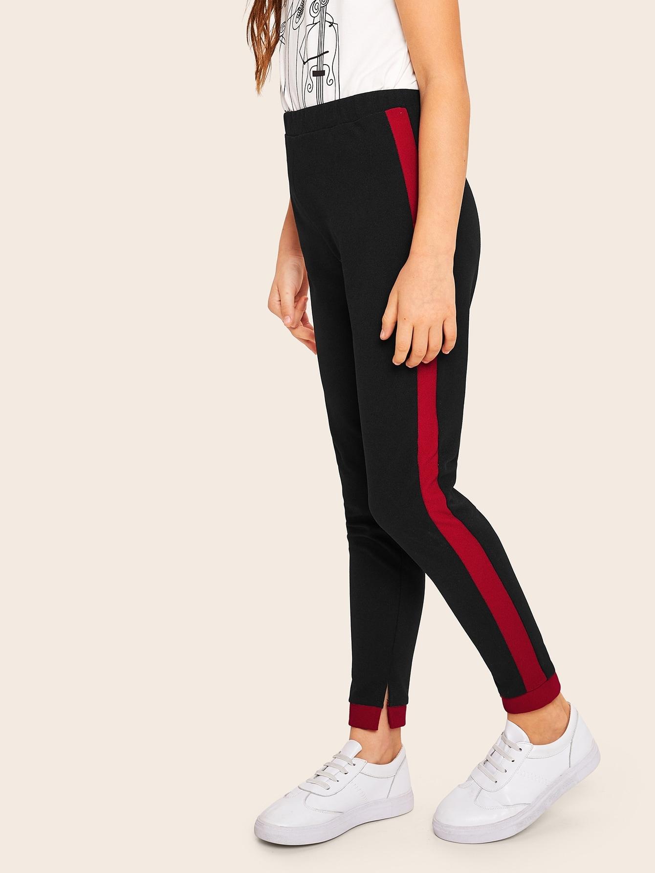 Фото - Леггинсы с контрастным бокам для девочек от SheIn черного цвета