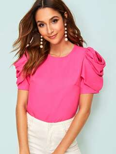 Neon Pink Button Back Gathered Sleeve Top