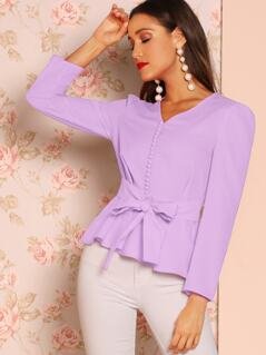 Button Front Knotted Peplum Top