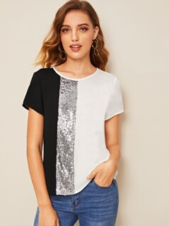 Sequins Contrast Cut-and-sew Top