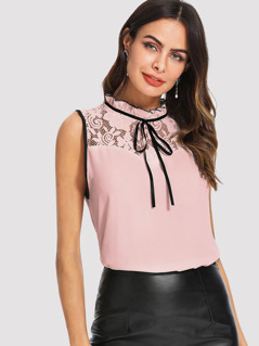 Frilled Neckline Lace Insert Sleeveless Top