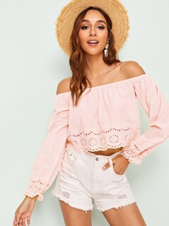 Lace Laser Cut Bishop Sleeve Bardot Top