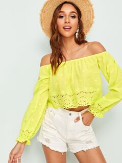Neon Yellow Eyelet Embroidered Bardot Top