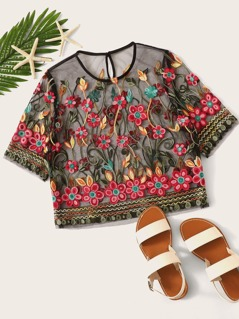 Floral Embroidery Sheer Mesh Blouse