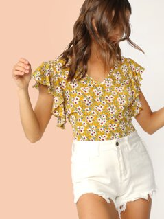 Floral Print V-neck Butterfly Sleeve Blouse