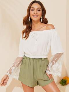 Embroidered Mesh Bell Sleeve Frilled Bardot Top