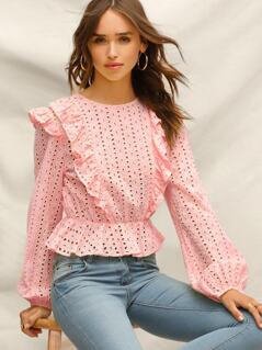 Ruffle Trim Schiffy Peplum Top