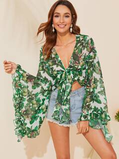 Fruit Exaggerated Flounce Sleeve Knotted Blouse