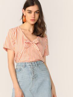 Striped V Neck Bow Front Top