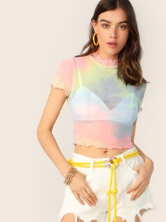 Tie Dye Sheer Lettuce Trim Top Without Bra