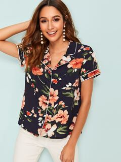 Contrast Piping Floral Print Blouse