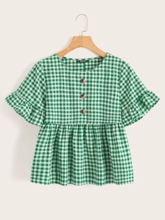 Gingham Button Front Ruffle Cuff & Hem Blouse