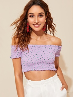 Off Shoulder Frill Trim Dot Shirred Crop Top
