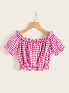 Gingham Ruffle Trim Button Front Crop Top