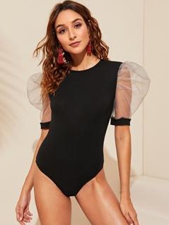 Contrast Mesh Puff Sleeve Bodysuit