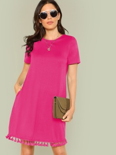Neon Pink Tassel Hem Slant Pocket Dress