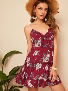 Floral Print Knot Front Frill Trim Cami Dress