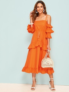Neon Orange Layered Sleeve Tie Front Ruffle Hem Dress