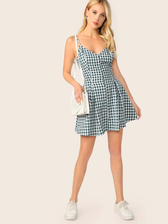 0c5b91fe18b Gingham Print Covered Button Front Cami Dress