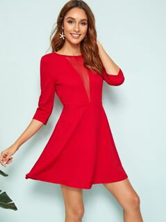 Mesh Insert Cut-out Back Fit & Flare Dress