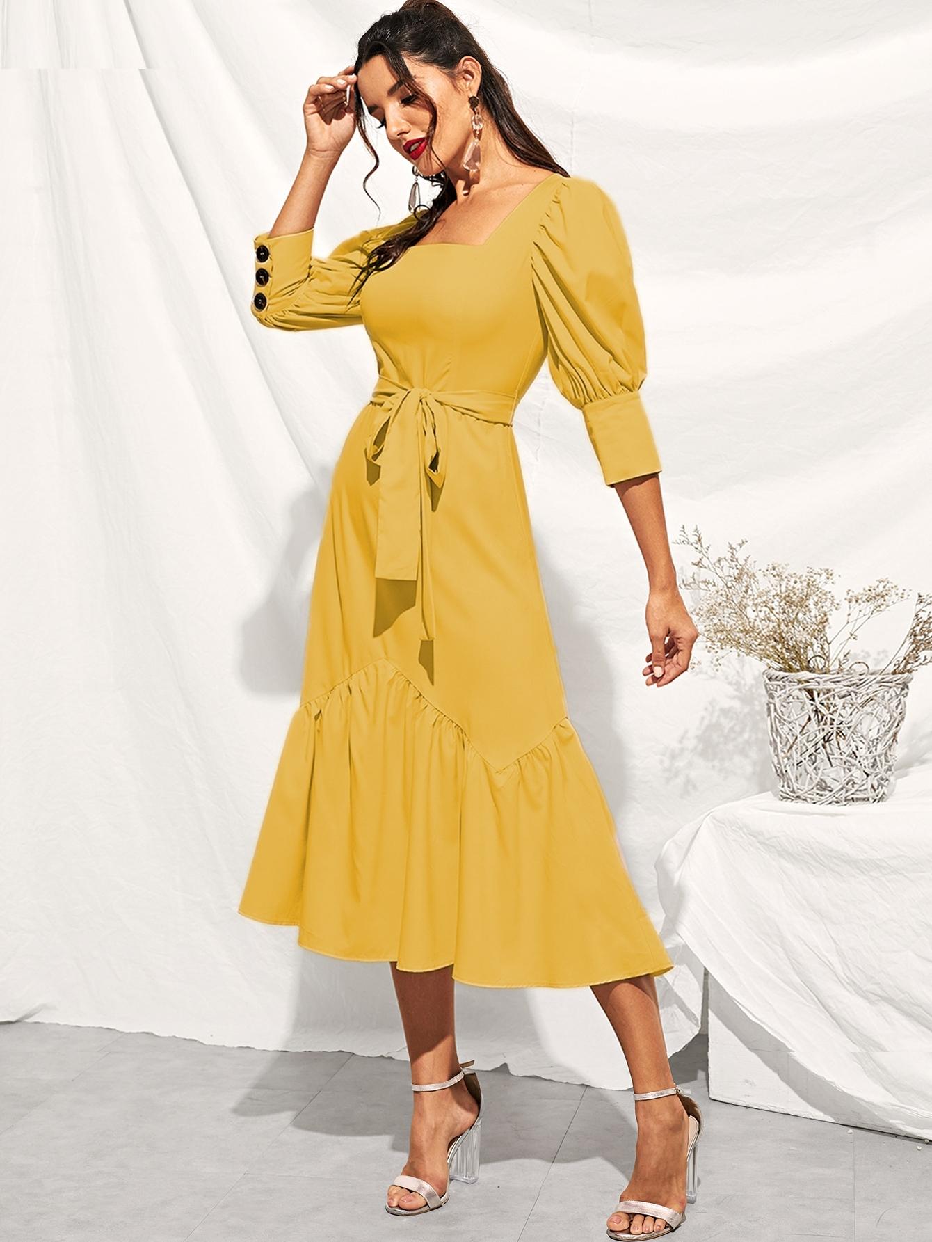 Фото - Платье с поясом и оборкой и пуговицами на манжетах от SheIn цвет жёлтые