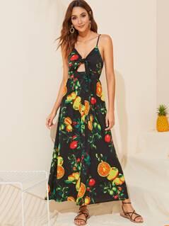 Knotted Front Peekaboo Fruit Print Maxi Slip Dress