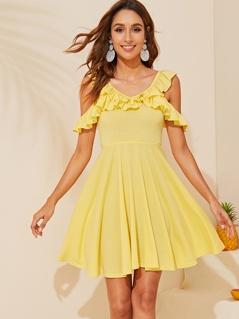 Ruffle Detail Cold Shoulder Flare Dress