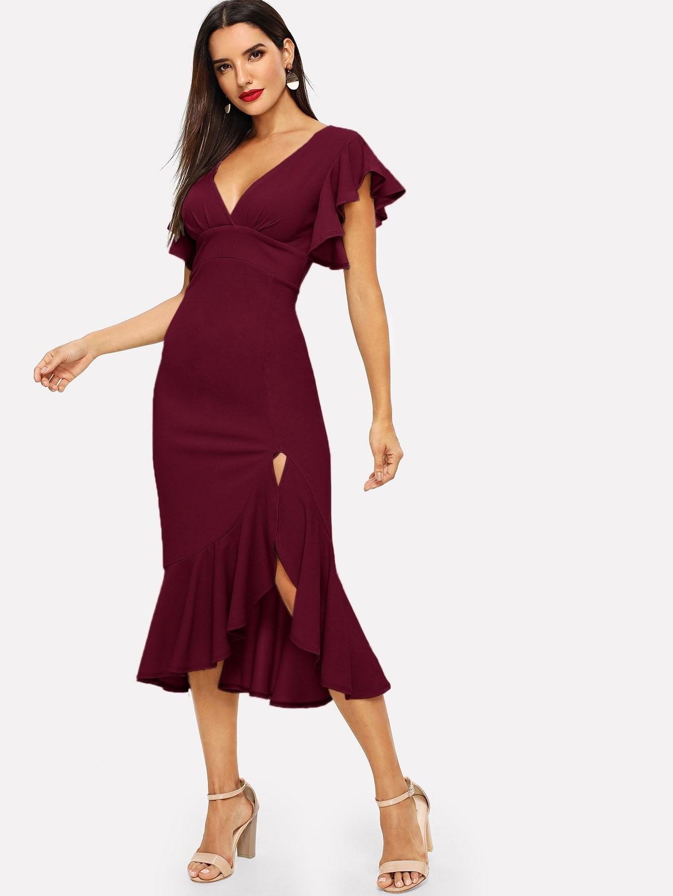 Фото - Облегающее асимметричное платье с оригинальным рукавом и оборками от SheIn цвет бургундия