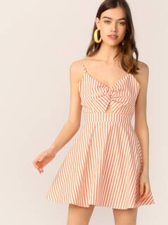 Cutout Tie Back Twist Front Striped Flare Dress