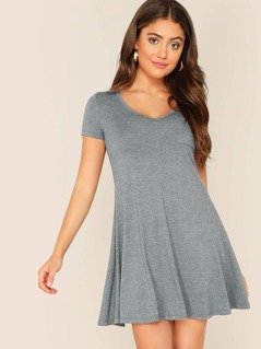 V Neck Pocket Patch Swing Tee Dress